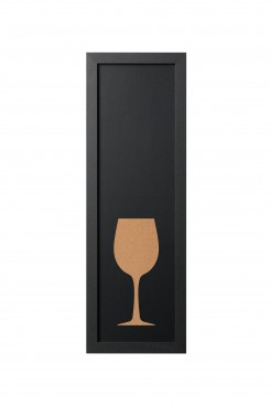 Kreidetafel in schwarz / Pinwand mit Weinglas aus Kork, 20 x 60 cm